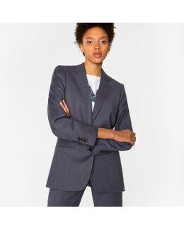 Women's Mottled Grey Wool-flannel Blazer