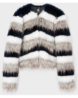 Women's Striped Faux-fur Jacket