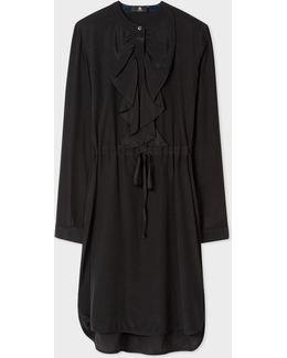 Women's Black Silk Shirt-dress With Ruffle Front
