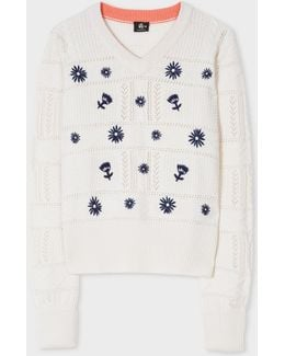 Women's Cream Cable-knit Wool Sweater With Floral Embroidery