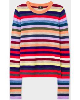 Women's Multi-coloured Stripe Merino Wool Sweater