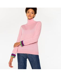 Women's Pink Wool Roll-neck Sweater With 'cycle Stripe' Cuffs