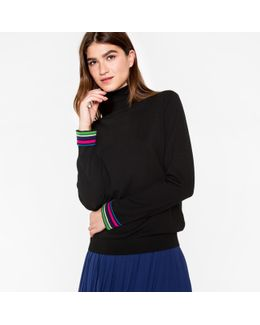 Women's Black Wool Roll-neck Sweater With 'cycle Stripe' Cuffs