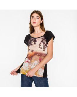 Women's Black 'dandelion Landscape' Print T-shirt