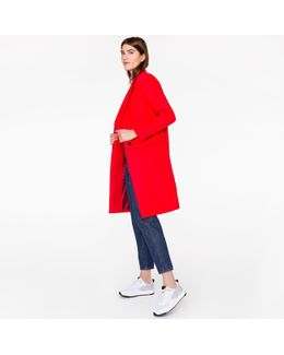 Women's Red Wool-cashmere Epsom Coat