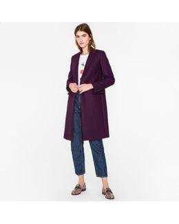 Women's Purple Wool-cashmere Epsom Coat