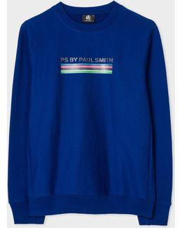 Men's Blue 'cycle Stripe' Print Organic-cotton Sweatshirt