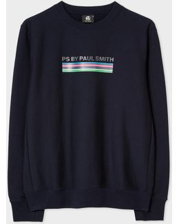 Men's Navy 'cycle Stripe' Print Organic-cotton Sweatshirt