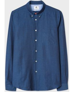 Men's Tailored-fit Navy Cotton-linen Slub Button-down Shirt