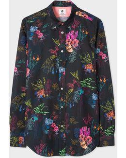 Men's Tailored-fit 'underwater Floral' Print Cotton-linen Shirt