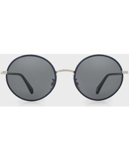 Navy And Brushed Silver 'danbury' Sunglasses