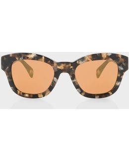Brown Confetti And Peach Gold Mirror 'dennett' Sunglasses