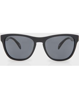 Semi-matte Onyx And Grey 'hoban' Sunglasses