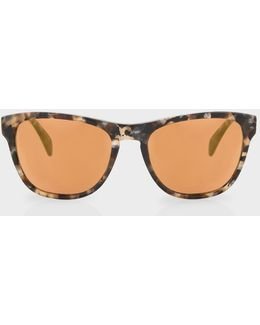 Brown Confetti And Peach Gold Mirror 'hoban' Sunglasses