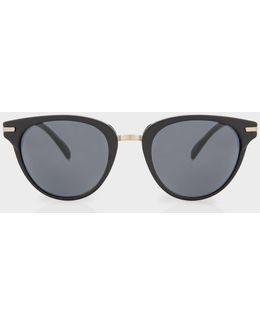 Matte Onyx And Brushed Gold 'jaron' Sunglasses