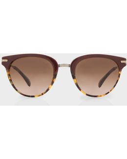 Burgundy And Spotted Tortoiseshell 'jaron' Sunglasses