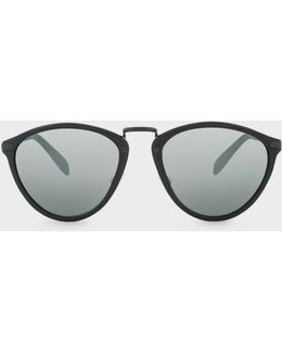 Semi-matte Onyx And Matte Onyx 'hawley' Mirrored Sunglasses