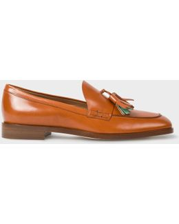 Women's Tan Calf Leather 'hasties' Tasseled Loafers