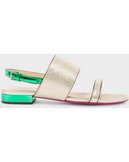 Women's Metallic Gold And Green Leather 'cleo' Sandals
