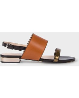 Women's Tan And Black Leather 'cleo' Sandals