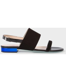 Women's Black Suede And Leather 'cleo' Sandals