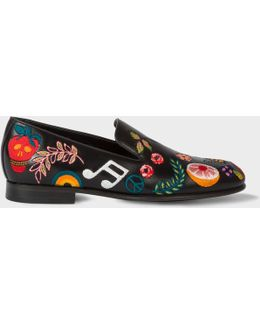 Men's Black Leather 'rudyard' Loafers With Embroidered Motifs