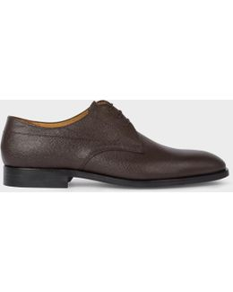 Men's Dark Brown Grained Leather 'leo' Derby Shoes