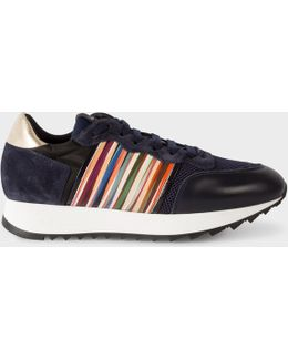 Women's Navy Leather And Suede 'bold' Trainers
