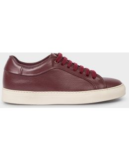 Women's Burgundy Perforated Leather 'basso' Trainers