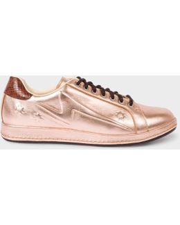 Women's Embossed Metallic Copper Leather 'lapin' Trainers