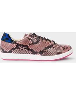 Women's Pink Snake-effect Leather 'lapin' Trainers