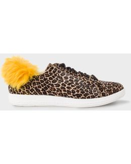 Women's Leopard Print Calf Hair 'lapin' Trainers With Faux-fur