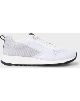 Women's White And Silver 'rappid' Knitted Trainers
