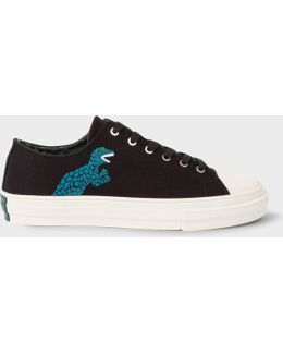 Women's Black Canvas 'kinsey' Trainers With 'dino' Print