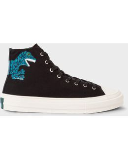 Women's Black Canvas 'kirk' Trainers With 'dino' Print