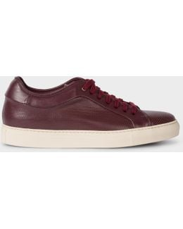 Men's Burgundy Perforated Leather 'basso' Trainers