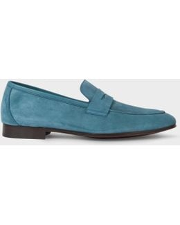 Men's Dark Turquoise Suede 'glynn' Penny Loafers