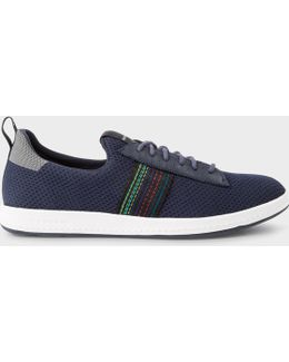 Men's Navy 'rabknit' Knitted Trainers With Striped Webbing