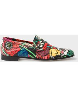 Women's Leather 'glynn' Penny Loafers With 'wild Garden' Print