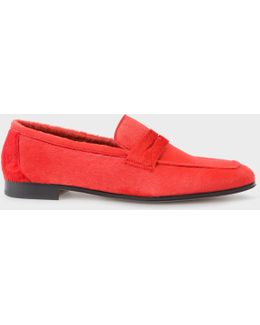 Women's Red Calf Hair 'glynn' Penny Loafers