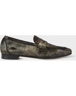 Women's Black And Gold Calf Hair 'glynn' Penny Loafers