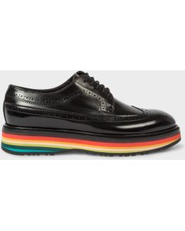 Women's Black Leather 'grand' Brogues With 'artist Stripe' Soles