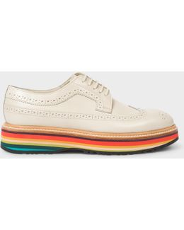 Women's Off-white Leather 'grand' Brogues With 'artist Stripe' Soles