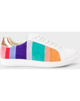 Women's White Leather 'lapin' Trainers With Coloured Suede Panels