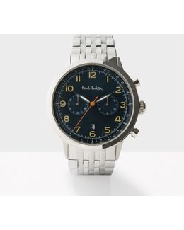 Men's Petrol And Silver 'precision' Chronograph Watch