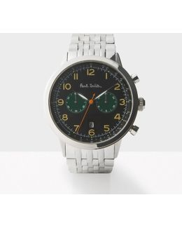 Men's Black And Silver 'precision' Chronograph Watch