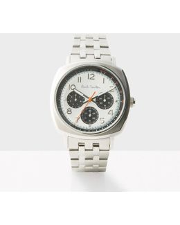 Men's White And Silver 'atomic' Watch