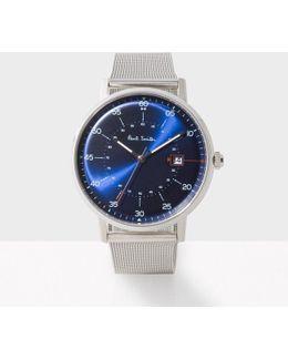 Men's Navy And Silver 'gauge' Watch