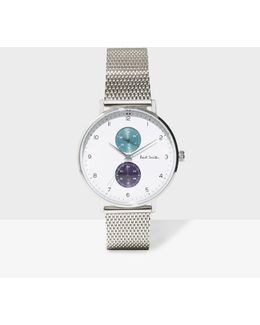 Men's White And Silver 'track' Watch