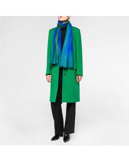Women's Sky Blue Dip-dye Herringbone Cashmere Scarf